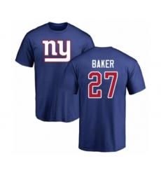 Football New York Giants #27 Deandre Baker Royal Blue Name & Number Logo T-Shirt
