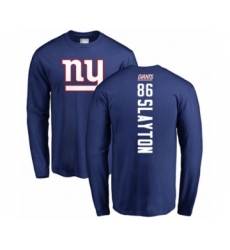 Football New York Giants #86 Darius Slayton Royal Blue Backer Long Sleeve T-Shirt