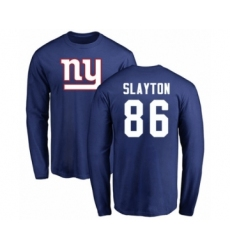Football New York Giants #86 Darius Slayton Royal Blue Name & Number Logo Long Sleeve T-Shirt