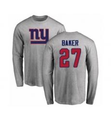 Football Women's New York Giants #27 Deandre Baker Ash Name & Number Logo Long Sleeve T-Shirt