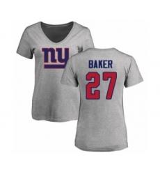 Football Women's New York Giants #27 Deandre Baker Ash Name & Number Logo T-Shirt