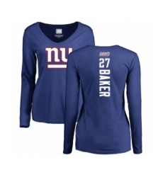 Football Women's New York Giants #27 Deandre Baker Royal Blue Backer Long Sleeve T-Shirt
