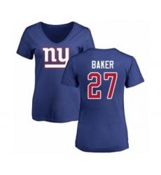 Football Women's New York Giants #27 Deandre Baker Royal Blue Name & Number Logo T-Shirt