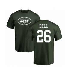 Football New York Jets #26 Le'Veon Bell Green Name & Number Logo T-Shirt