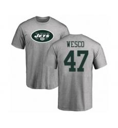 Football New York Jets #47 Trevon Wesco Ash Name & Number Logo T-Shirt