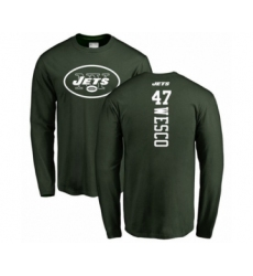 Football New York Jets #47 Trevon Wesco Green Backer Long Sleeve T-Shirt