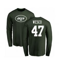 Football New York Jets #47 Trevon Wesco Green Name & Number Logo Long Sleeve T-Shirt