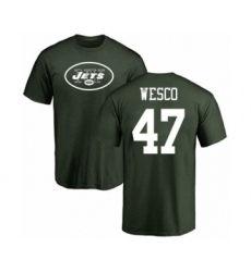 Football New York Jets #47 Trevon Wesco Green Name & Number Logo T-Shirt