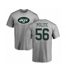 Football New York Jets #56 Jachai Polite Ash Name & Number Logo T-Shirt