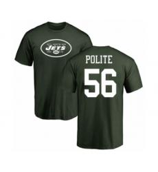 Football New York Jets #56 Jachai Polite Green Name & Number Logo T-Shirt