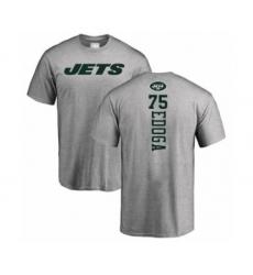Football New York Jets #75 Chuma Edoga Ash Backer T-Shirt