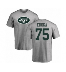Football New York Jets #75 Chuma Edoga Ash Name & Number Logo T-Shirt