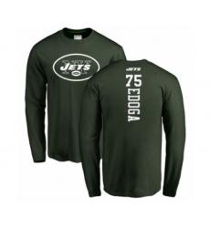 Football New York Jets #75 Chuma Edoga Green Backer Long Sleeve T-Shirt