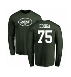 Football New York Jets #75 Chuma Edoga Green Name & Number Logo Long Sleeve T-Shirt