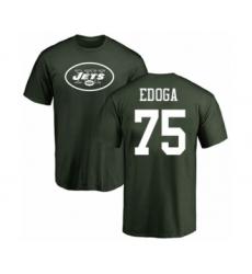 Football New York Jets #75 Chuma Edoga Green Name & Number Logo T-Shirt