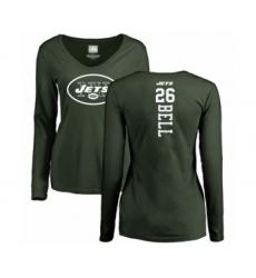 Football Women's New York Jets #26 Le'Veon Bell Green Backer Long Sleeve T-Shirt