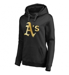 MLB Oakland Athletics Women's Gold Collection Pullover Hoodie - Black