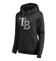MLB Tampa Bay Rays Women's Platinum Collection Pullover Hoodie - Black