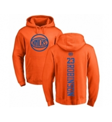 Basketball New York Knicks #23 Mitchell Robinson Orange One Color Backer Pullover Hoodie