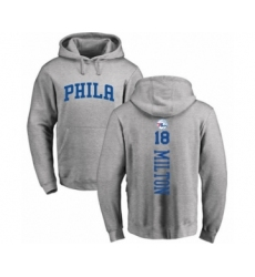 Basketball Philadelphia 76ers #18 Shake Milton Ash Backer Pullover Hoodie