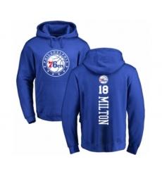 Basketball Philadelphia 76ers #18 Shake Milton Royal Blue Backer Pullover Hoodie