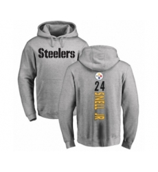 Pittsburgh Steelers #24 Benny Snell Jr. Ash Backer Pullover Hoodie