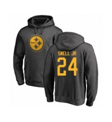 Pittsburgh Steelers #24 Benny Snell Jr. Ash One Color Pullover Hoodie