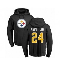 Pittsburgh Steelers #24 Benny Snell Jr. Black Name & Number Logo Pullover Hoodie