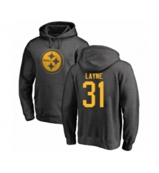 Pittsburgh Steelers #31 Justin Layne Ash One Color Pullover Hoodie
