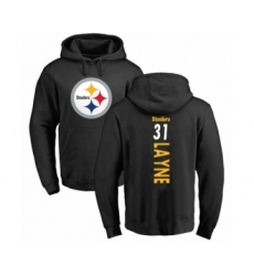 Pittsburgh Steelers #31 Justin Layne Black Backer Pullover Hoodie