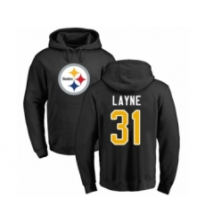 Pittsburgh Steelers #31 Justin Layne Black Name & Number Logo Pullover Hoodie