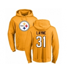 Pittsburgh Steelers #31 Justin Layne Gold Name & Number Logo Pullover Hoodie