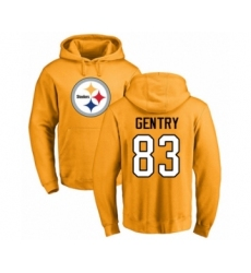 Pittsburgh Steelers #83 Zach Gentry Gold Name & Number Logo Pullover Hoodie