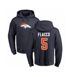 Football Denver Broncos #5 Joe Flacco Navy Blue Name & Number Logo Pullover Hoodie