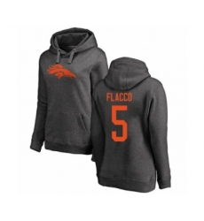 Football Women's Denver Broncos #5 Joe Flacco Ash One Color Pullover Hoodie