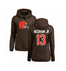 NFL Women's Nike Cleveland Browns #13 Odell Beckham Jr. Brown Name & Number Logo Pullover Hoodie