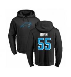 Football Carolina Panthers #55 Bruce Irvin Black Name & Number Logo Pullover Hoodie