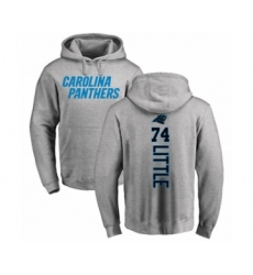 Football Carolina Panthers #74 Greg Little Ash Backer Pullover Hoodie