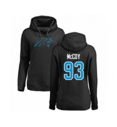 Football Women's Carolina Panthers #93 Gerald McCoy Black Name & Number Logo Pullover Hoodie