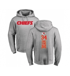 Football Kansas City Chiefs #34 Carlos Hyde Ash Backer Pullover Hoodie