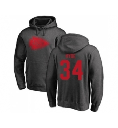 Football Kansas City Chiefs #34 Carlos Hyde Ash One Color Pullover Hoodie