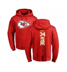 Football Kansas City Chiefs #34 Carlos Hyde Red Backer Pullover Hoodie