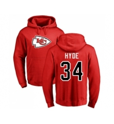 Football Kansas City Chiefs #34 Carlos Hyde Red Name & Number Logo Pullover Hoodie