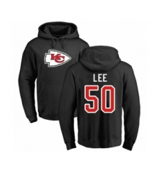 Football Kansas City Chiefs #50 Darron Lee Black Name & Number Logo Pullover Hoodie