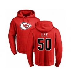 Football Kansas City Chiefs #50 Darron Lee Red Name & Number Logo Pullover Hoodie