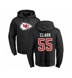 Football Kansas City Chiefs #55 Frank Clark Black Name & Number Logo Pullover Hoodie
