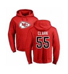 Football Kansas City Chiefs #55 Frank Clark Red Name & Number Logo Pullover Hoodie