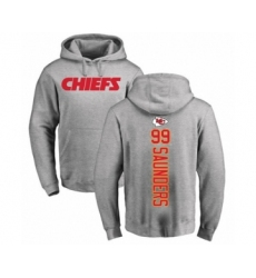 Football Kansas City Chiefs #99 Khalen Saunders Ash Backer Pullover Hoodie