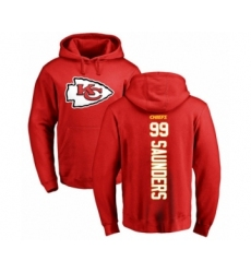 Football Kansas City Chiefs #99 Khalen Saunders Red Backer Pullover Hoodie