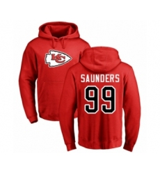 Football Kansas City Chiefs #99 Khalen Saunders Red Name & Number Logo Pullover Hoodie
